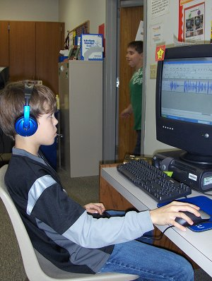 Student Working in Audacity